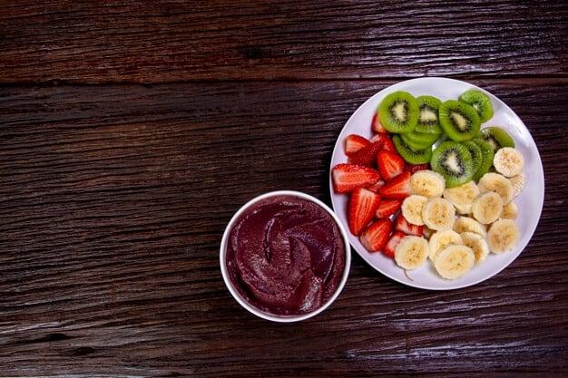 Porção de açaí com frutas
