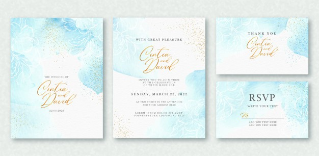 Convite de casamento com letras delicadas