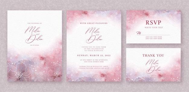 Convite de casamento rosa