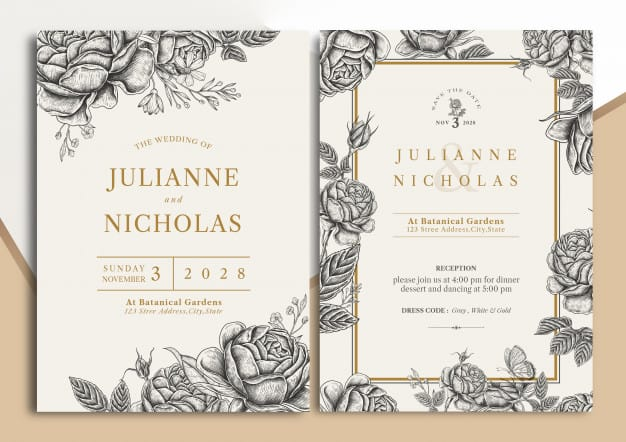 Convites de casamento bonito