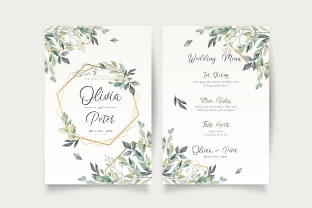 Convite de casamento com folhas