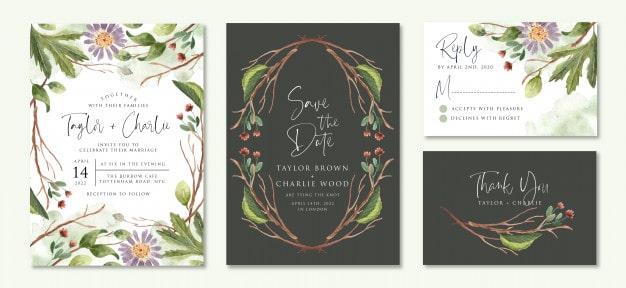 Convite de casamento natureza