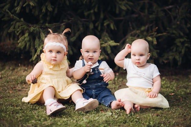 bebês sentados na grama