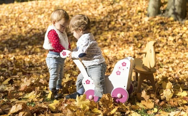 bebês brincando em folhas