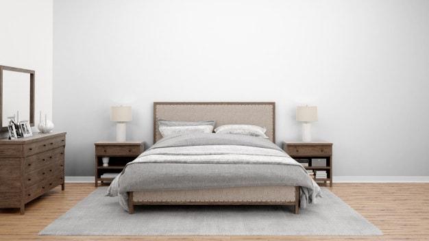 cama posta com roupa de cama cinza