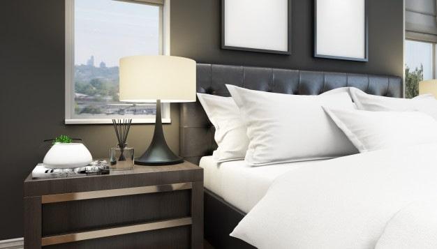 cama posta com cabeceira em couro