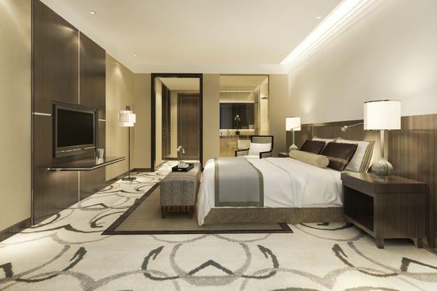 quarto de luxo com cama posta