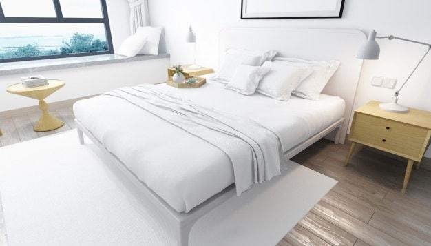 cama posta manta branca
