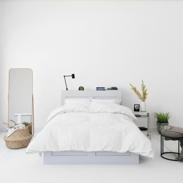 cama com colcha branca