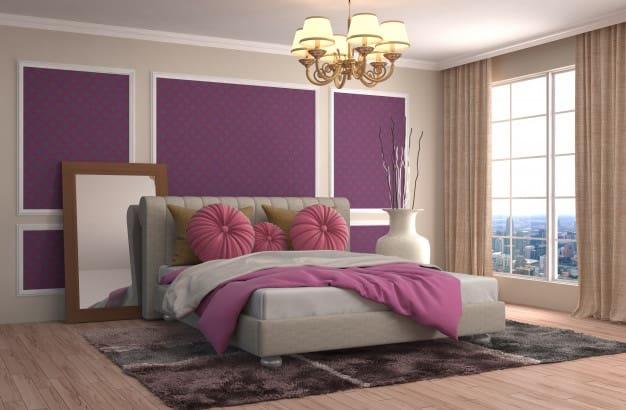 cama posta com almofadas rosas