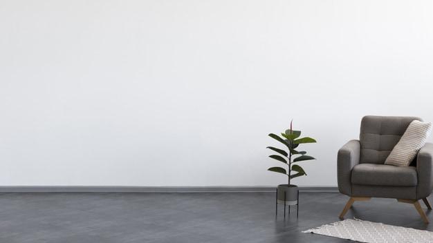 poltrona ao lado de vaso de planta