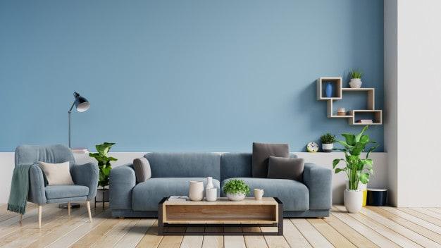 poltrona e sofá azuis