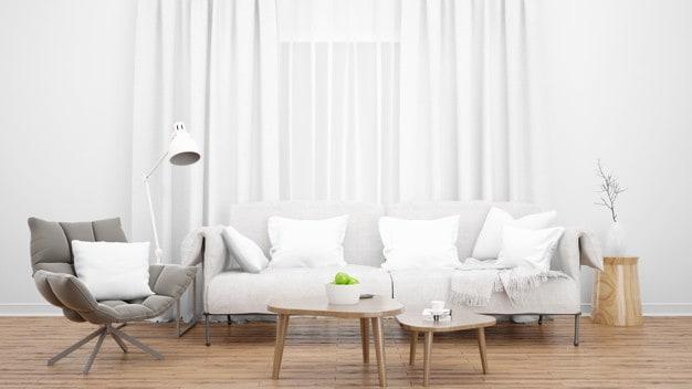 poltrona cinza em sala de estar