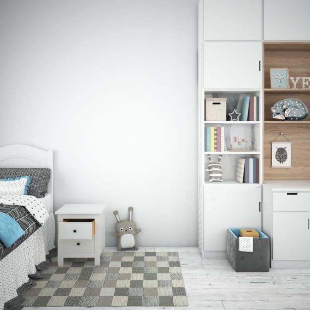 quarto com tapete decorativo