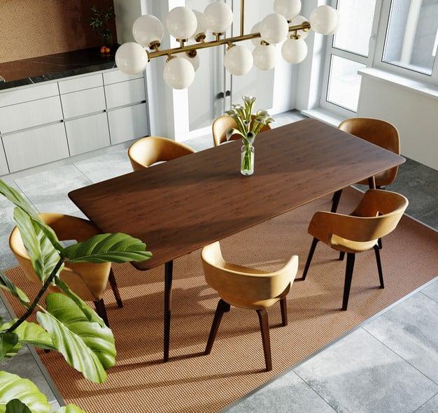mesa de jantar sobre tapete retangular