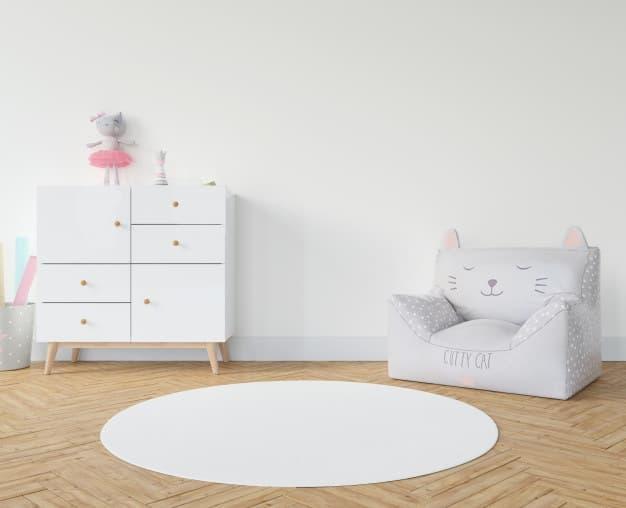 tapete redondo em quarto infantil