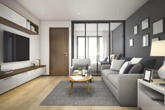 sofá e tapete nas cores cinza