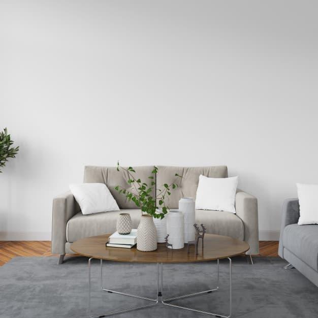 sofá cinza e almofadas