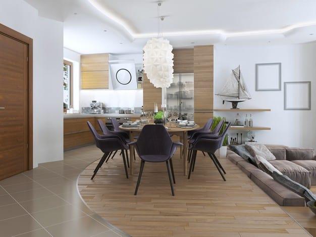pendentes na sala de jantar futurista com textura